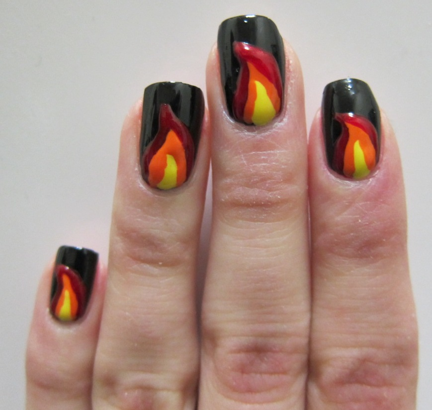 Fire nail art midrash manicures fire nail art prinsesfo Gallery
